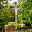 Statue of Jesus on cross in wooded garden - Stok fotoğraf