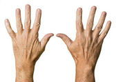 Pair of senior caucasian hands — Stock Photo