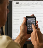 USA tax form 1040 for year 2012 and calculator — Stock Photo