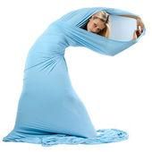 中一件长蓝衣服的女孩. — 图库照片