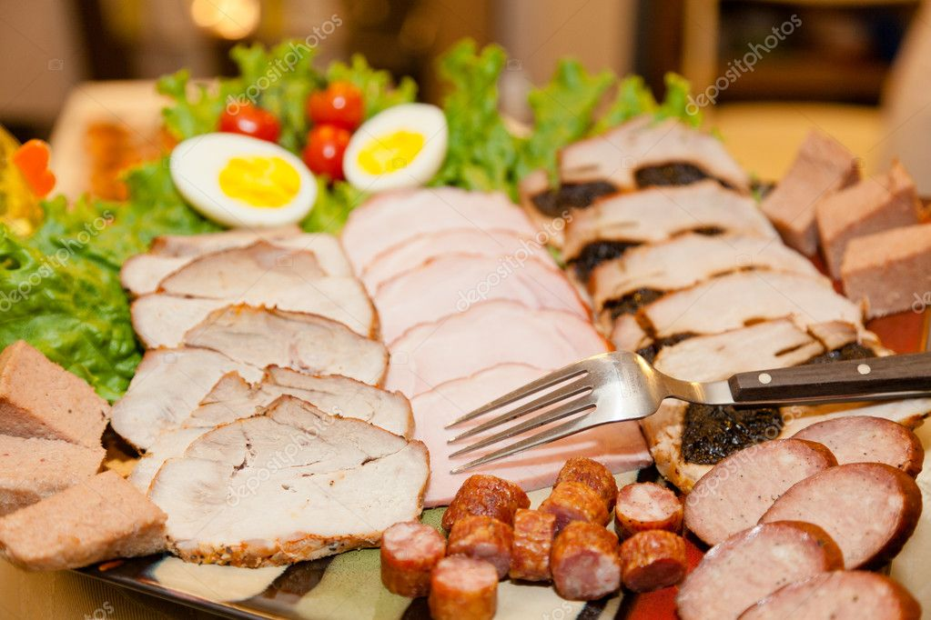Party table arrangement with assortment of foods. — Stock Photo #10977547