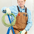 Portrait of Electrician with wire equipment — Stock Photo