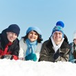 Group of happy young in winter — Stock Photo