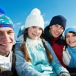 Stock Photo: Group of happy young in winter