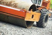 Compactor roller at road work — Stockfoto