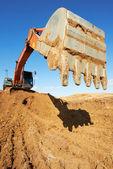 Track-type loader excavator at work — Stock Photo