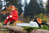 Lumberjack arbetare med motorsåg i skogen — Stockfoto