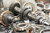 Close-up of automobile engine gears — Stock Photo