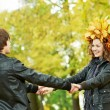 Couple at autumn outdoors — Stock Photo #12338323