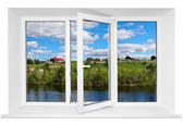 Janela porta tripla plástica branca com trunquil vista através do vidro. isolado no fundo branco. porta aberta — Foto Stock