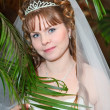Portrait of the beautiful bride behind palm tree leaves — Stock Photo
