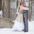 Young wedding Caucasian Russian couple embracing on snowy park. Winter season in Russia — Stock Photo #10950120