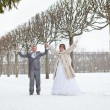 Young wedding Caucasian Russian couple walking on snowy park. Winter season in Russia - Stock Photo