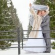 Stock Photo: Young wedding Caucasian Russian couple standing on bridge in snowy park. Winter season in Russia