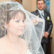 Beauty Caucasian bride in veil and groom standing on background and looking at woman — Stock Photo #10950203