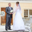 Young wedding Caucasian Russian couple standing in front of the building in winter — Stock Photo #10950326