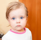 Year-old little Caucasian child closeup portrair — Stock Photo