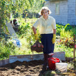 Mature woman in own garden with bunch of fresh picking potato — Stok fotoğraf