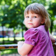 Sweet little child portrait with looking from back. Copyspace — Stock Photo