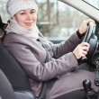 Woman in winter clothes in a car — Stock Photo