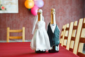Two bottles of champagne on table — Stockfoto