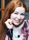 Close-up of pretty young Caucasian woman portrait — Stock Photo