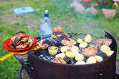 Roasted meat an potatoes on the brazier — Stock Photo