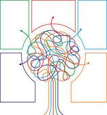 Färgglada träd med pilar — Stockvektor