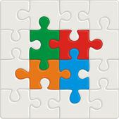 Many-colored puzzle pattern (removable pieces) — Vector de stock