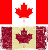 Canadian flags. Grunge effect can be cleaned easily. — Stock Vector