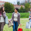 Young Women at Park after Shopping - Stock Photo