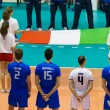 FLORENCE, ITALY - MAY 19: Listening the National Anthem before the World League match between Italy and France at Mandela Forum, Florence, Italy on May 19 2012 - Stock Photo
