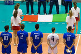 FLORENCE, ITALY - MAY 19: Listening the National Anthem before the World League match between Italy and France at Mandela Forum, Florence, Italy on May 19 2012 — Stock Photo