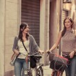 Two Beautiful Women Walking in the City with Bicycles and Bags — Stock Photo #10956411