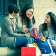 Three Women after Shopping — Stock Photo