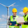 Stock Photo: Two Engineers in Wind Turbine Power Station