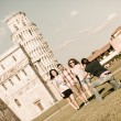 Group of Friends Taking Photo with Pisa Leaning Tower on Background — Stock Photo #11064012