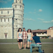 Group of Friends Taking Photo with Pisa Leaning Tower on Background — Stock Photo #11064015