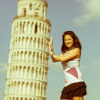 Stok fotoğraf: Chinese Girl with Leaning Tower of Pisa