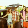 Four Friends Ready to Leave For Vacation — Stock Photo #11097835