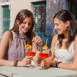 Two Young Women with a Cold Drink — Stock Photo