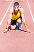 Male Track and Field Athlete before the Race Start — Stock Photo