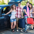 Four Friends Ready to Leave For Vacation — Stock Photo #11318127