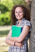 Young Beautiful Female Student at Park — Stockfoto