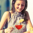 Smiling Beautiful Woman with Cold Drink - Stock Photo