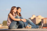 Two Beautiful Women in the City — Stock Photo