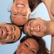 Stock Photo: Happy Friends in Circle, Bottom View