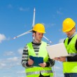 Two Engineers in a Wind Turbine Power Station — Stock Photo #11747101