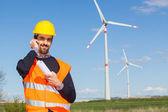 Technician Engineer in Wind Turbine Power Generator Station — 图库照片