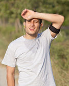 Tired Young Man After Jogging — Stock Photo